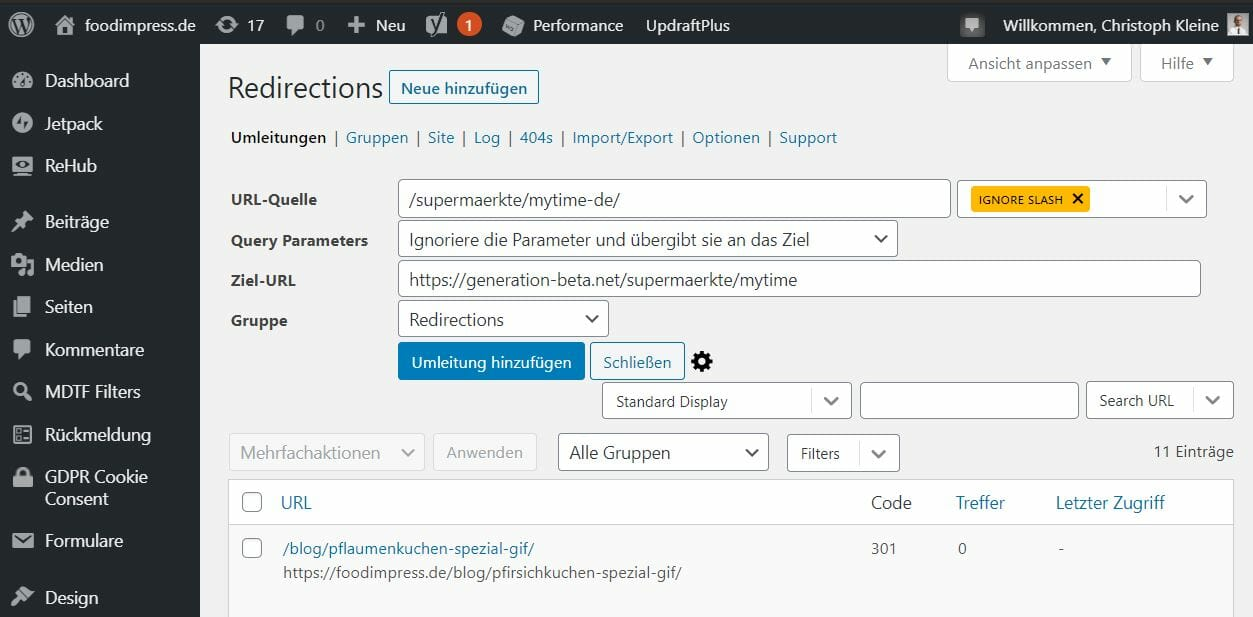 redirect Konfiguration mit Redirection