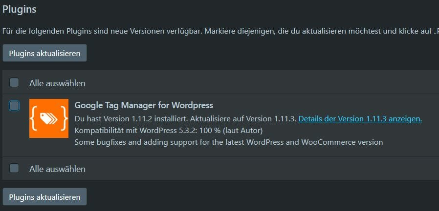 Gecheckte Checkbox WordPress Darkmode