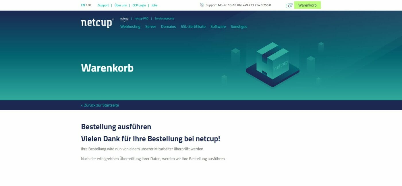 Webhosting Bestellung netcup
