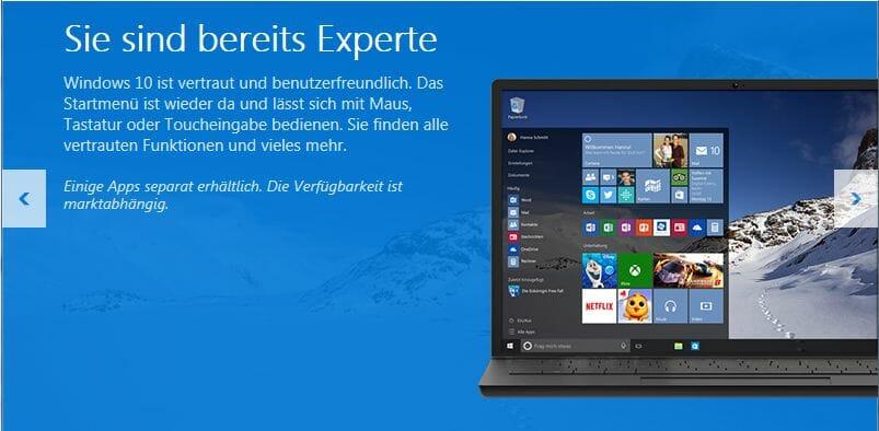 Windows 10 hat Kacheloptik aus Windows 8