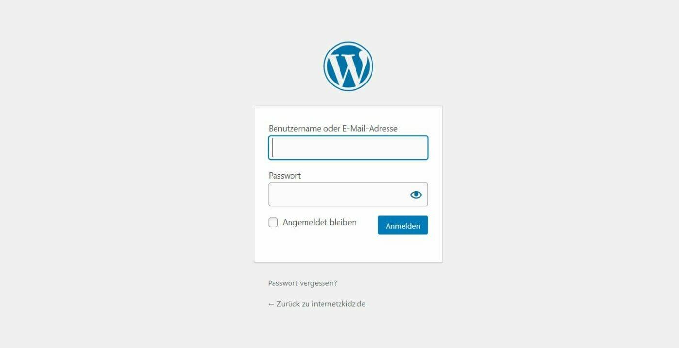 Wordpress Standard Login Screen