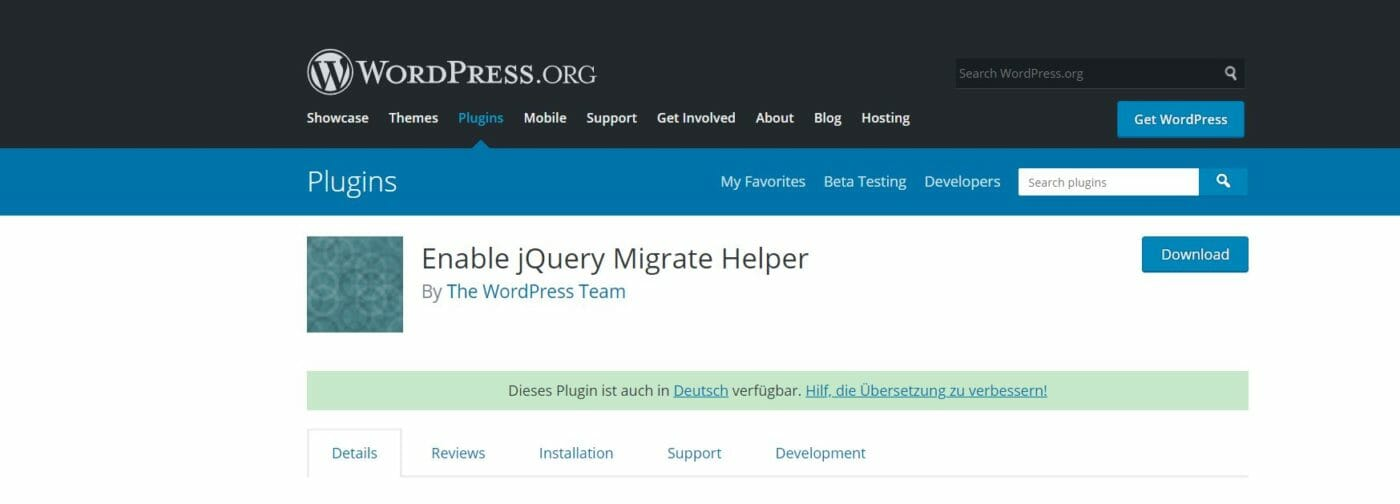 jquery Migrate Helper Plugin Download