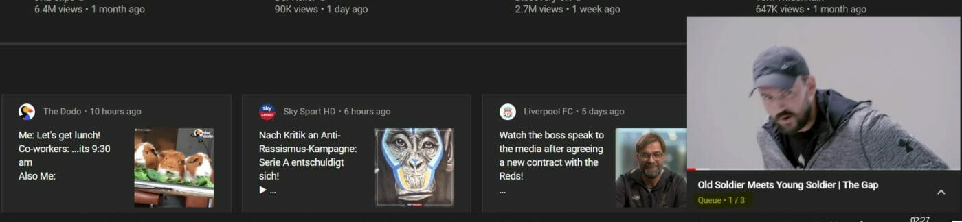 Youtube Warteschlange Anzeige