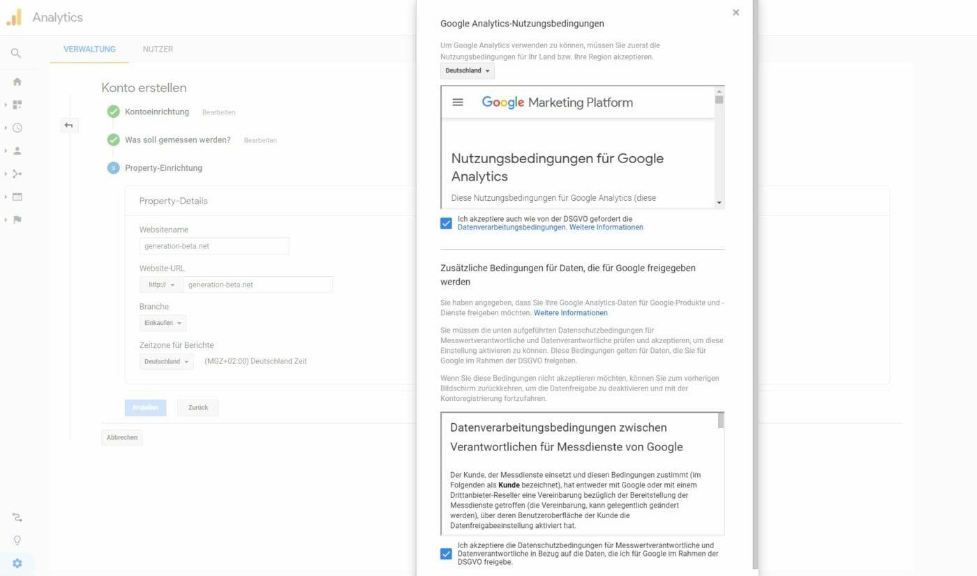 Google Analytics: AGB DSGVO