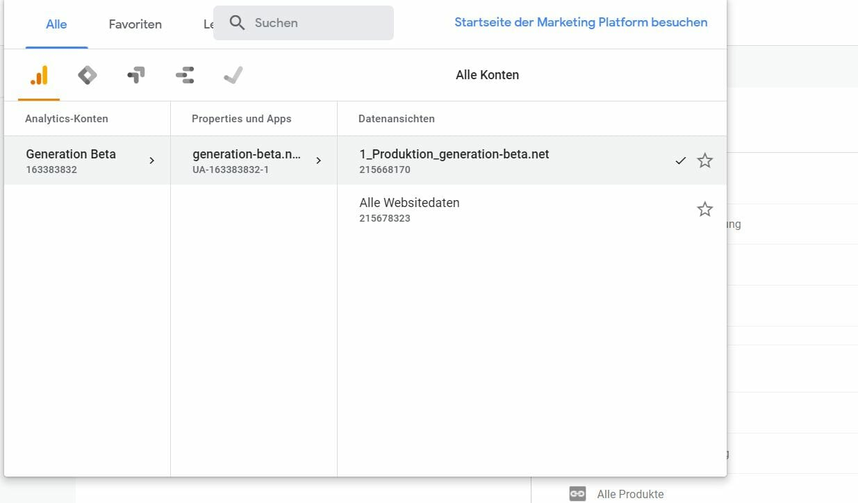 Google Analytics Konto Property View