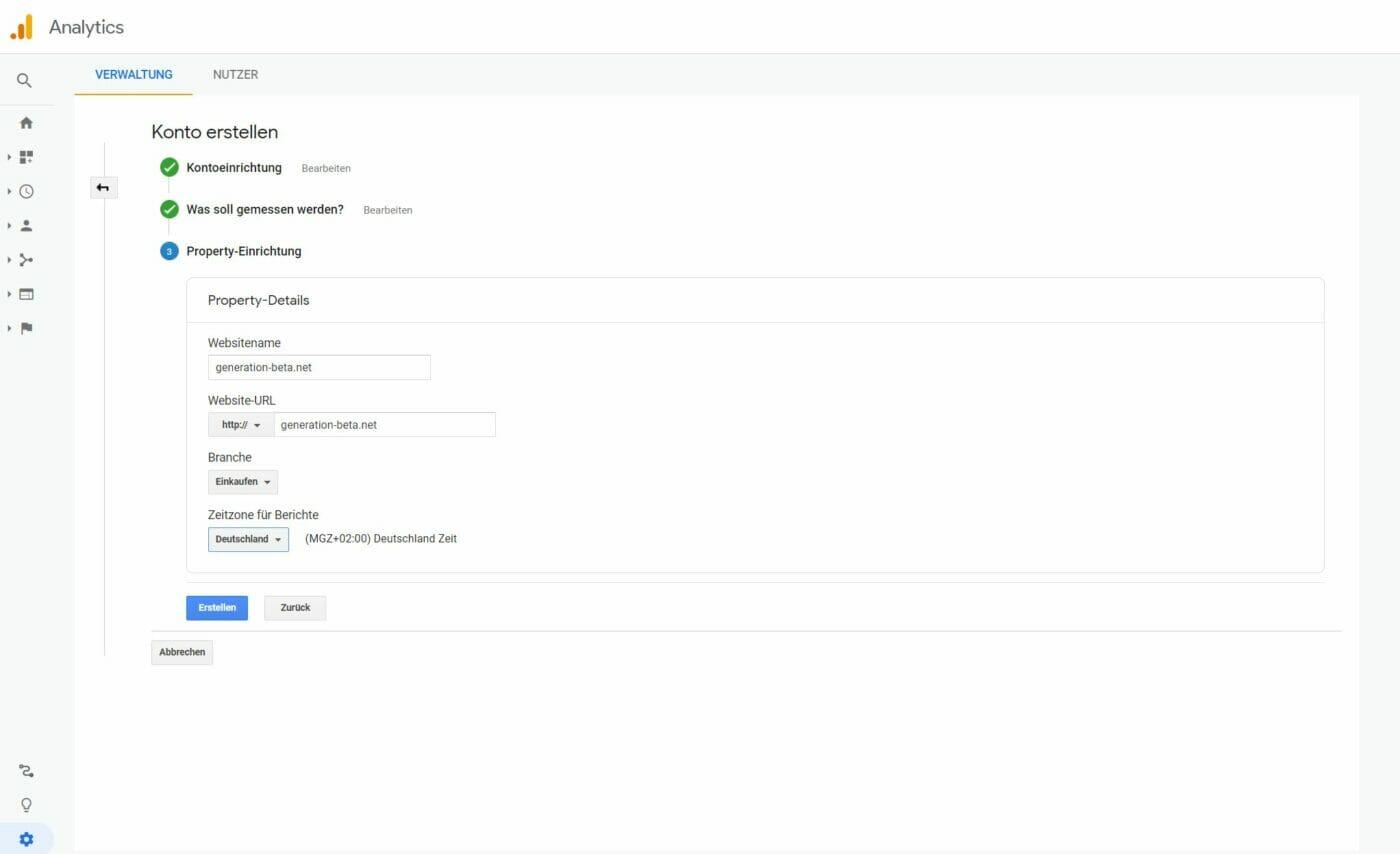 Google Analytics: Property konfigurieren