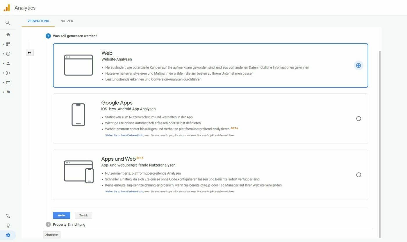Google Analytics: Art der Applikation
