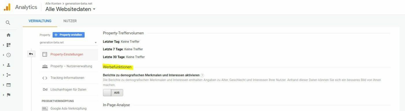 google Analytics Werbefunktion aus