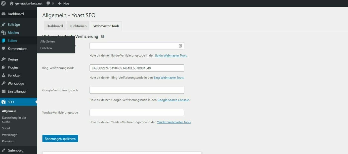 Hinterlegen der Bing Meta-Tag-ID im Yoast SEO PLugin