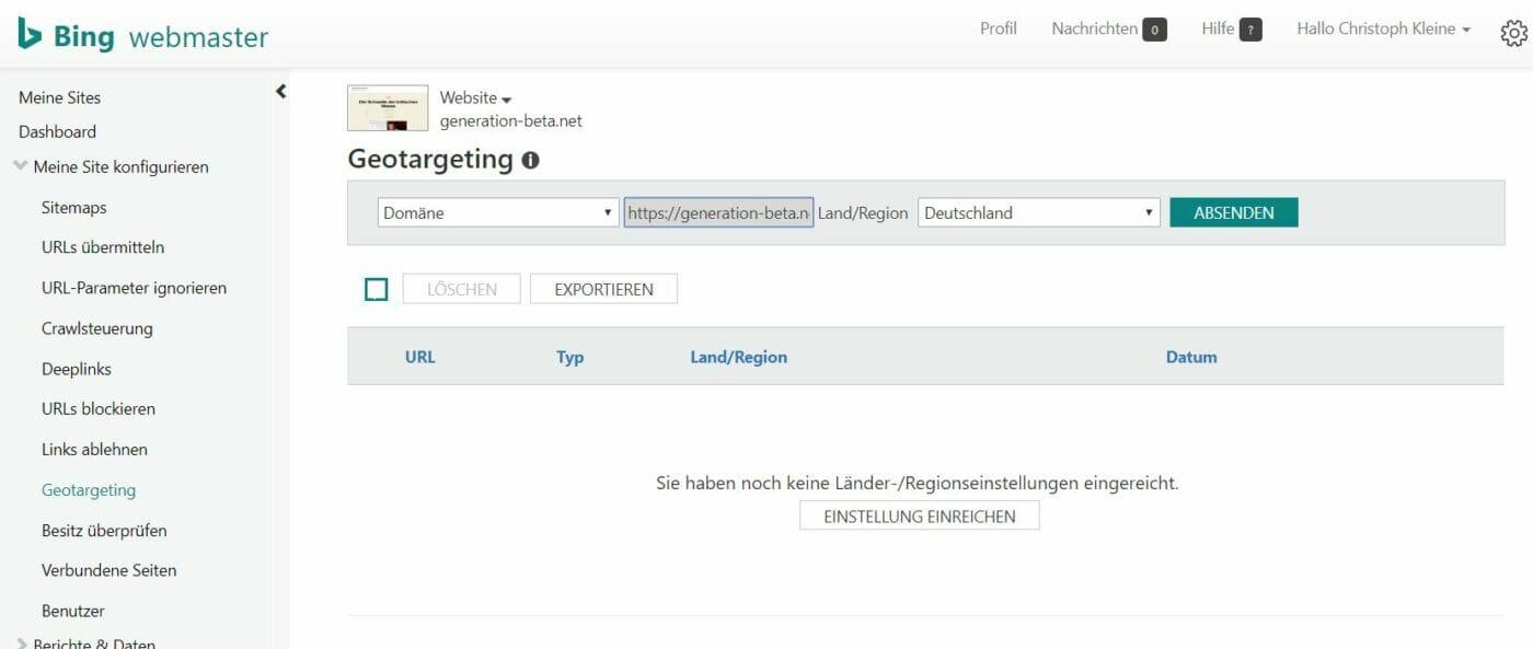 Bing Webmaster Tools Geotargeting