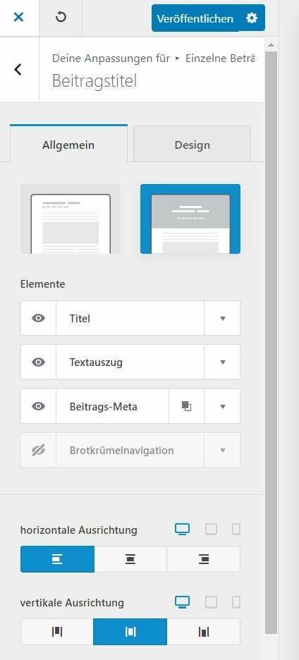 Blocksy Customizer Blog Post Konfiguation