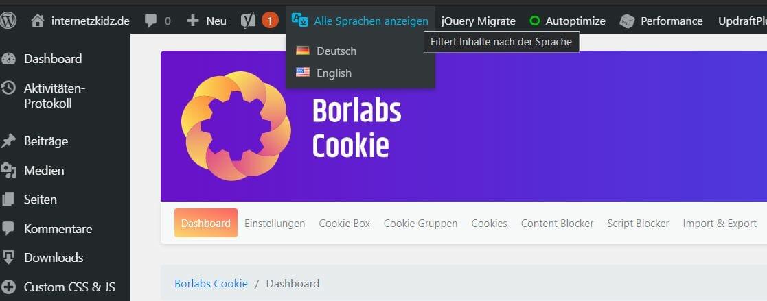 Borlabs deutsche und englische Konfiguration