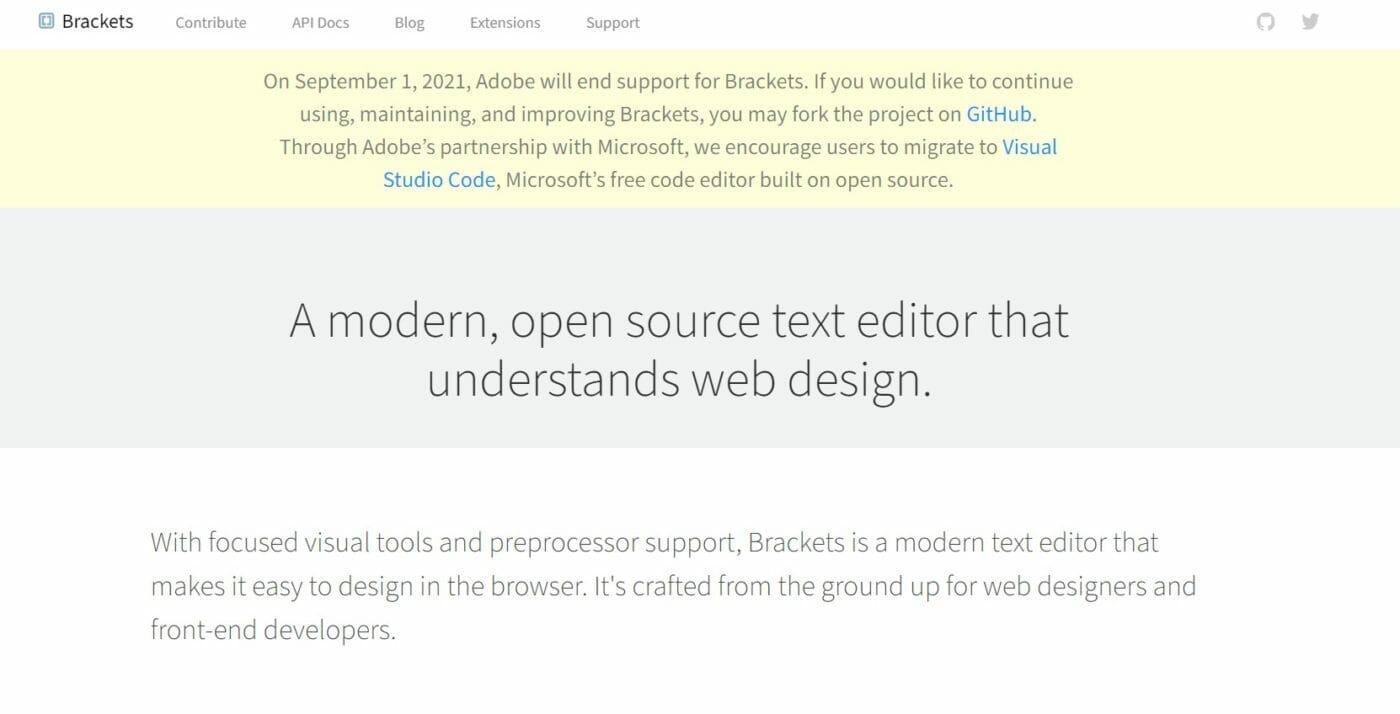Brackets empfiehlt Microsoft Visual Studio Code