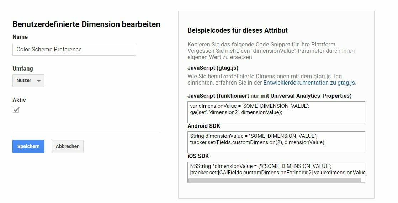 Dark Mode Tracking Google Analytics Custom Dimension