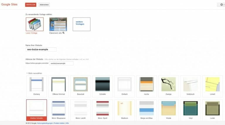 Google Sites Overview Screen
