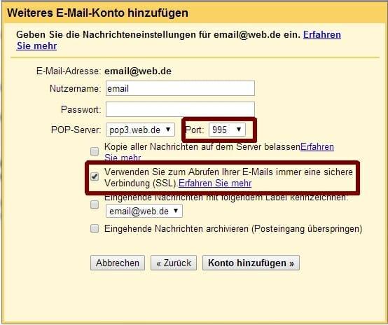 gmail import konfiguration