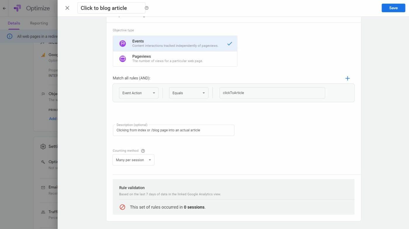 Google Google Optimize Ziel 1