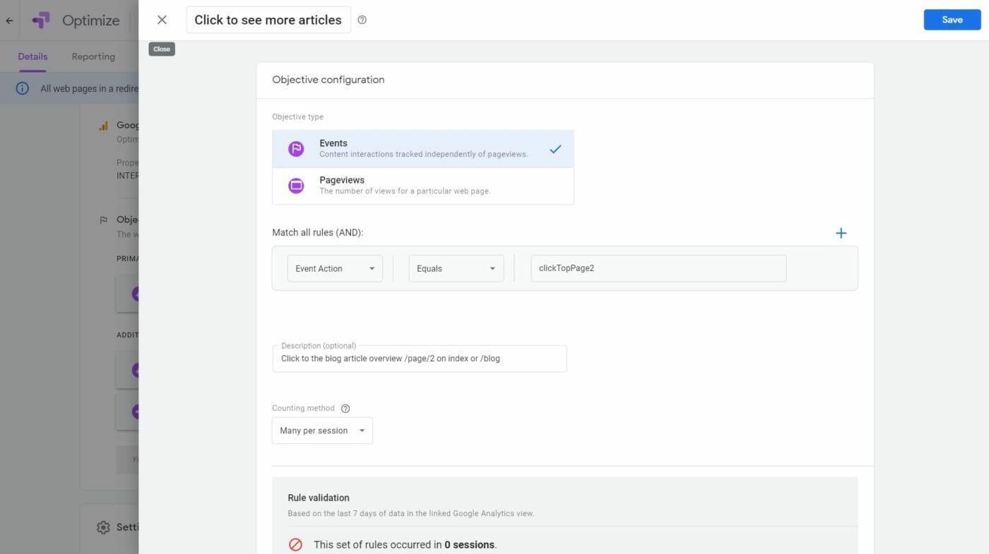 Google Google Optimize Ziel 2