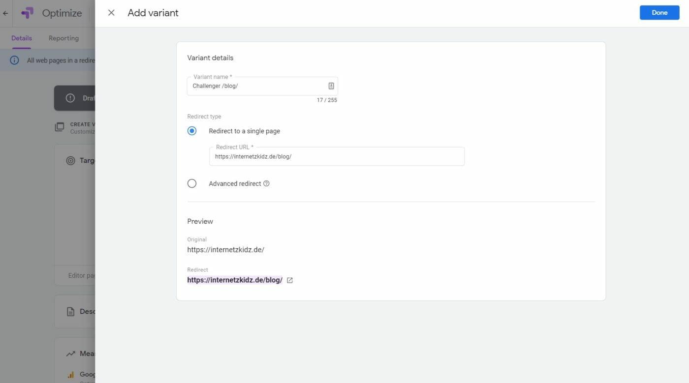 Google Google Optimize URL Varianten