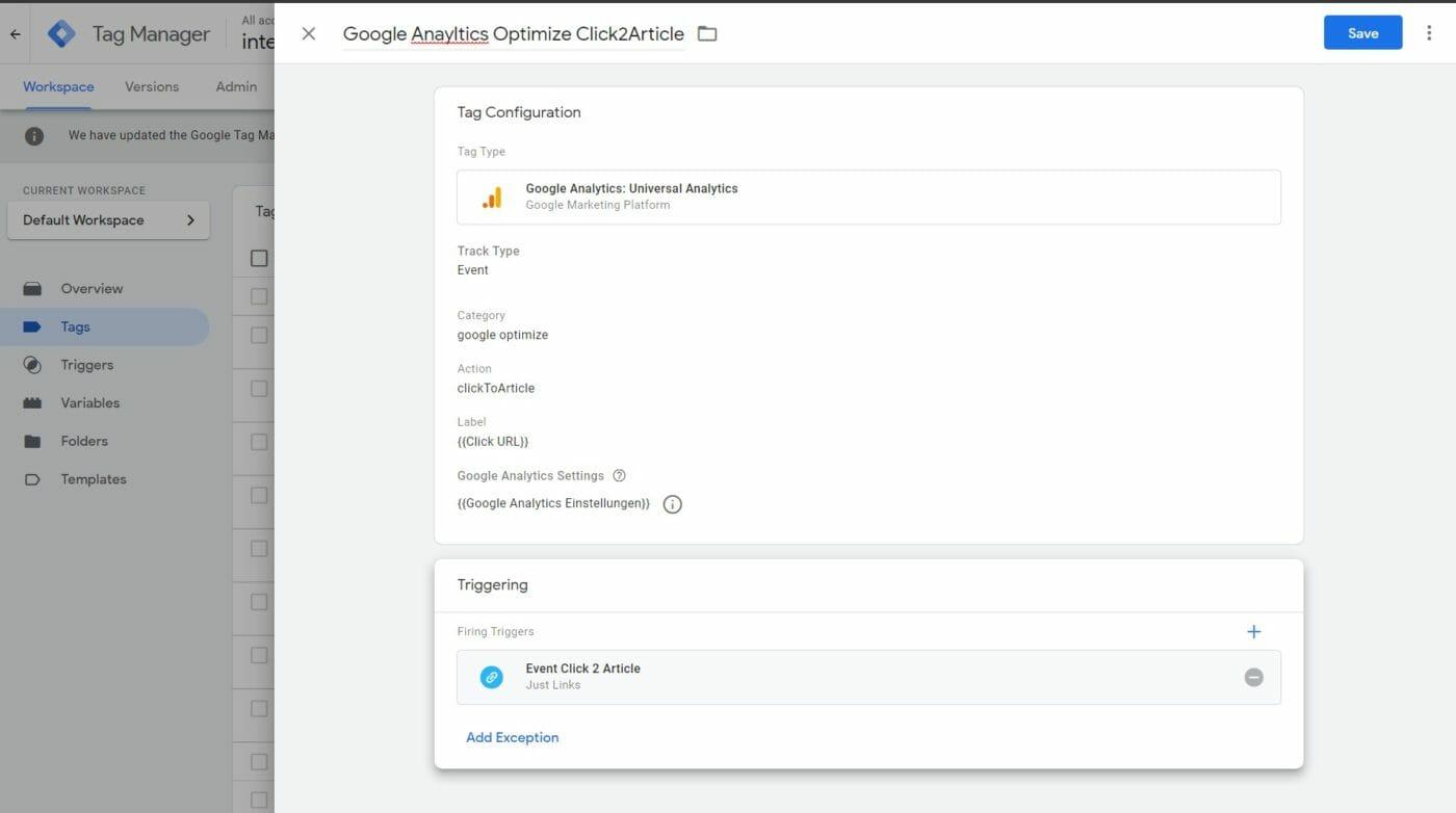 Google Optmize Tagmanager Tag Konfiguration 1