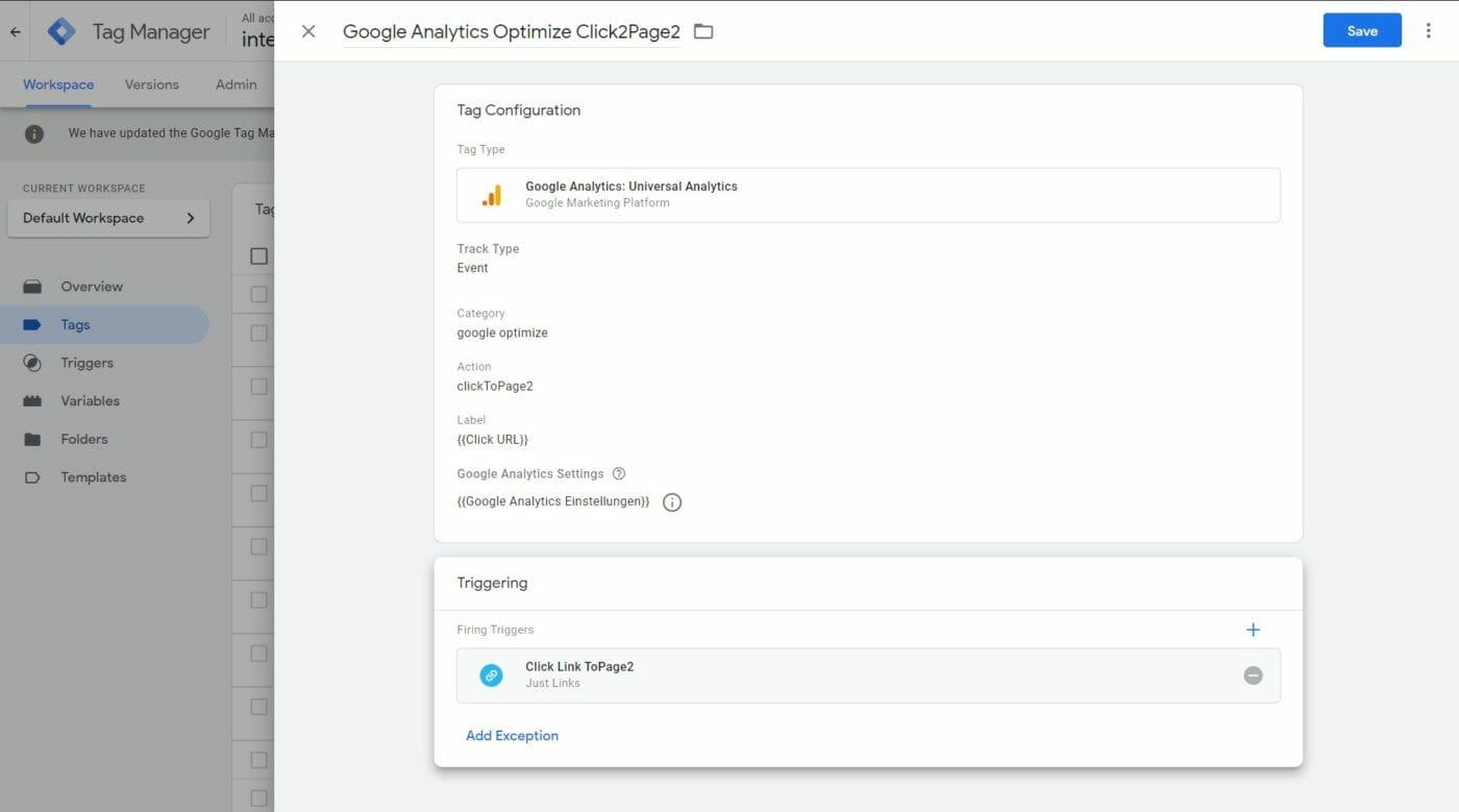 Google Optmize Tagmanager Tag Konfiguration 2