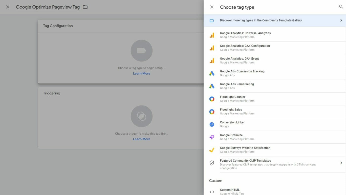 Google Optimize in der Tag Library