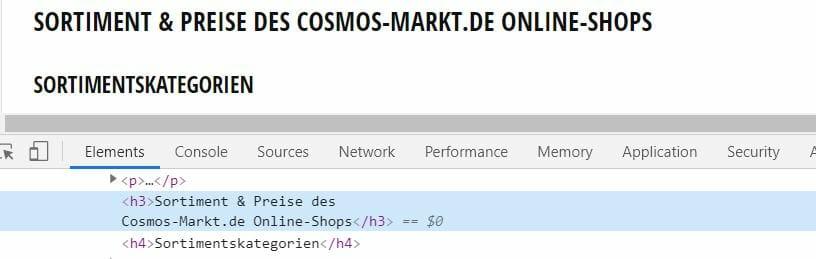 HTML Markup Überschriften