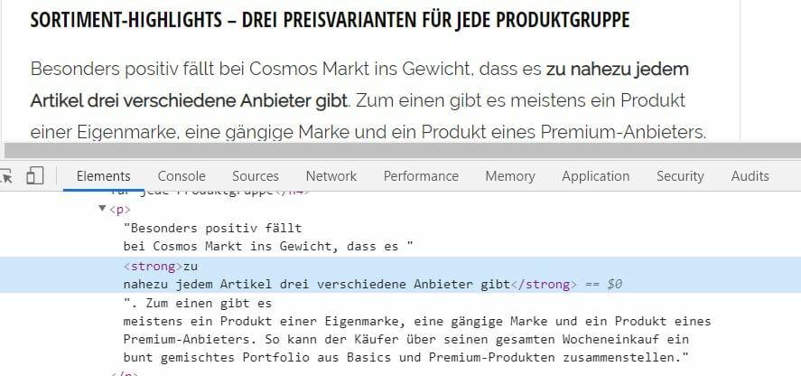 HTML Markup Fettungen