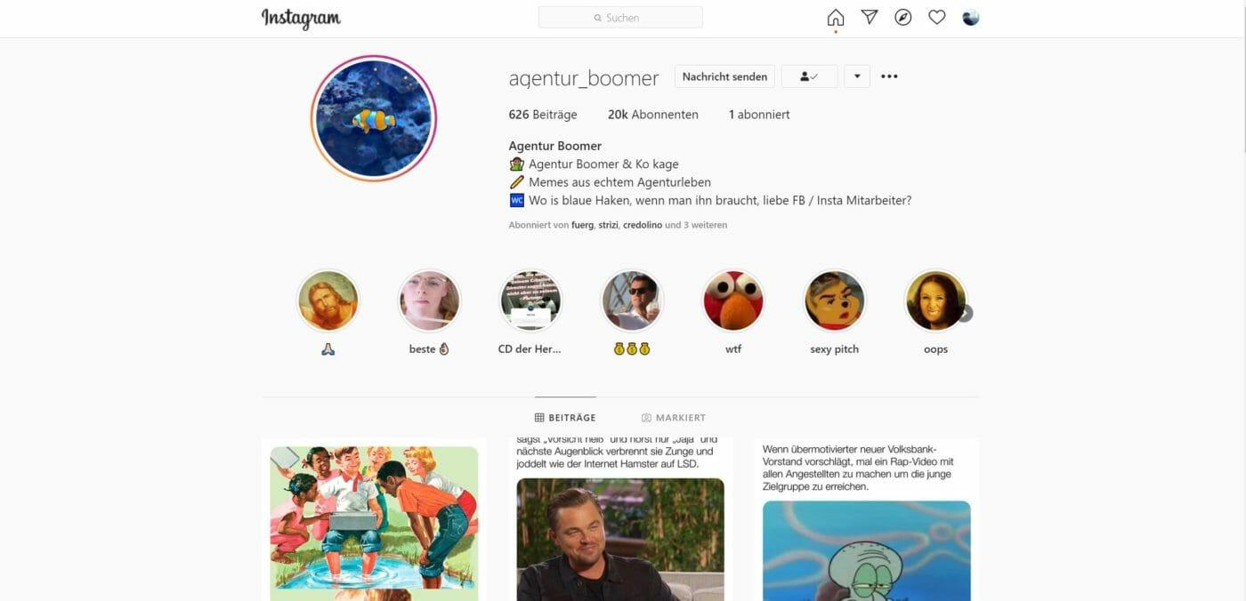 Agentur Boomer instagram Account