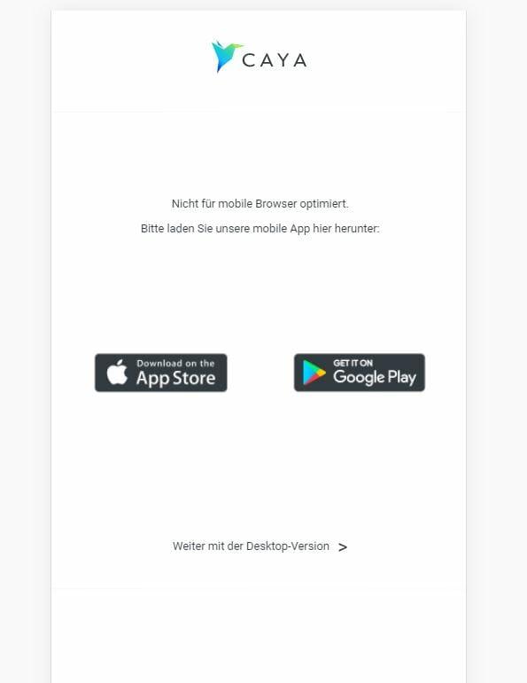 Keine mobile Website: CAYA App