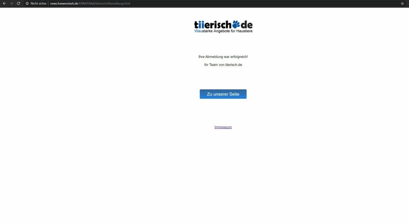 Newsletter-Unsubscribe für tierisch.de