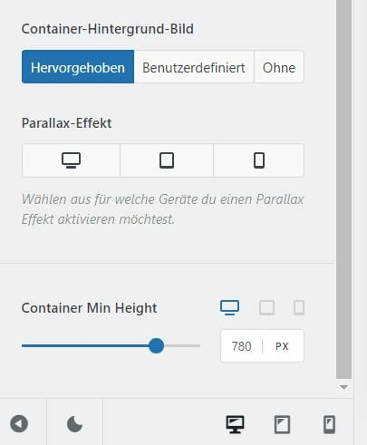 Min Height Container Blocksy