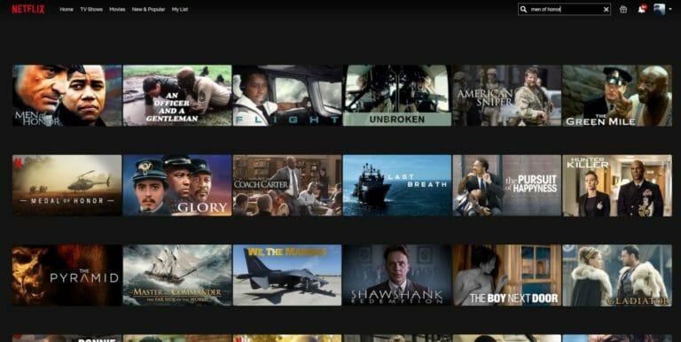 Netflix Suche Men of Honor