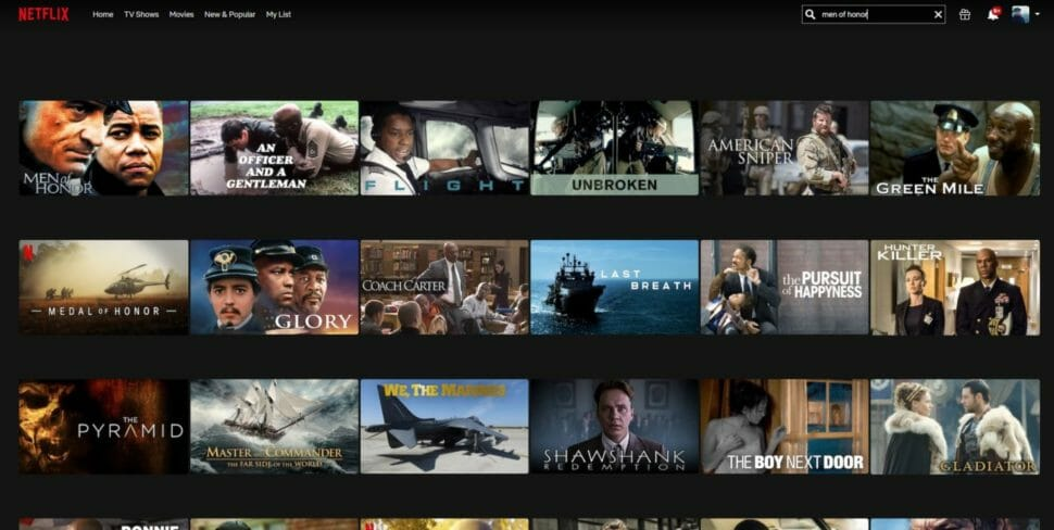 Netflix Suche Men of Honor