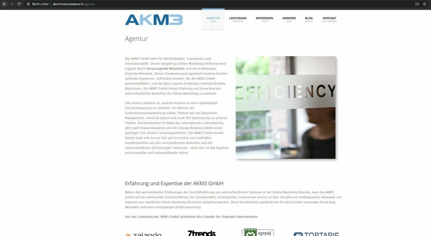Neue alte Website Version von AKM3