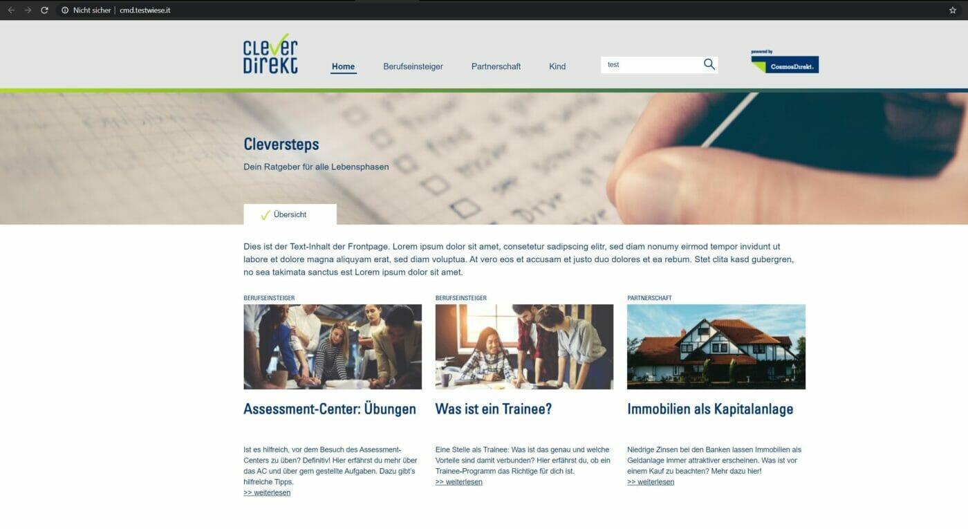 Aktuelle Version der CleverDirekt Ratgeber Website