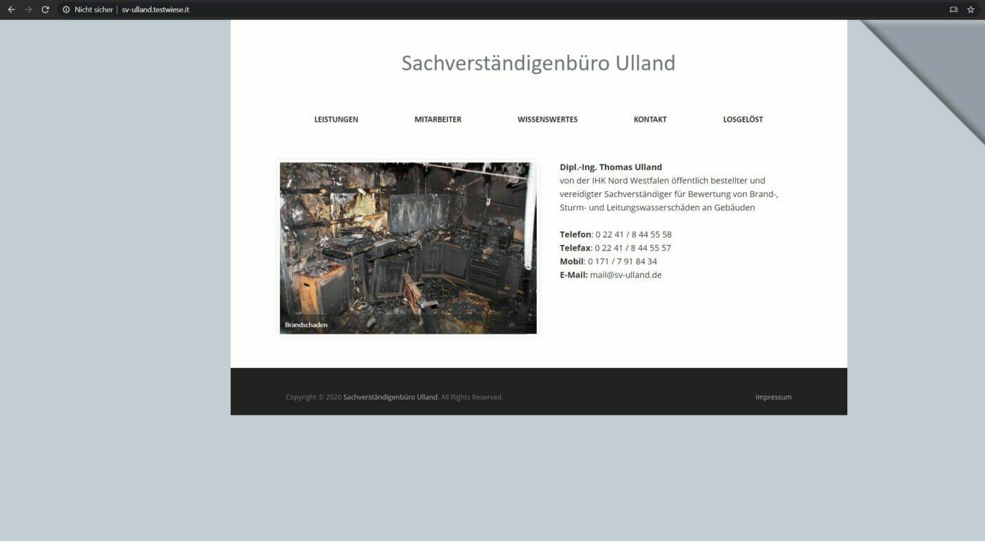 Die Website des Sachverständigen Büro Ulland