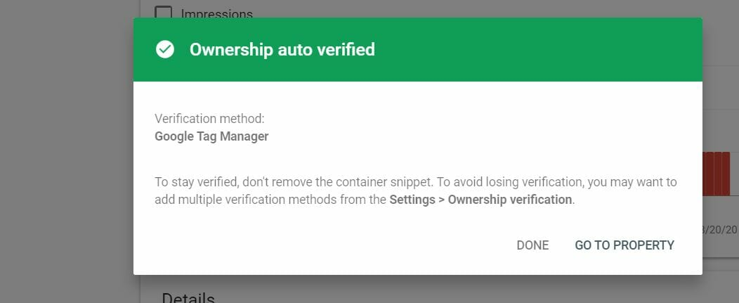 Google Search Console Ownership verified