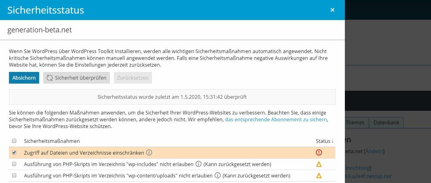 Wordpress Sicherheits Empfehlungen PLESK