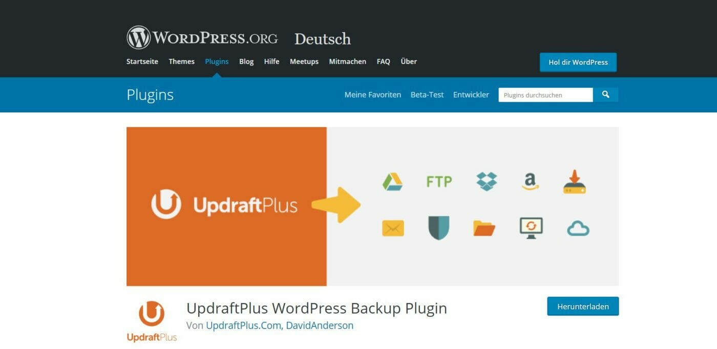 Updraft Backup Plugin