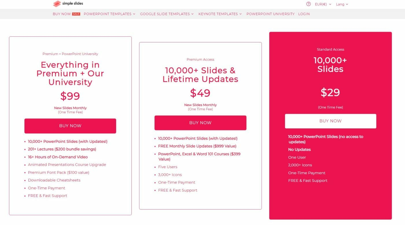 simpleslides-co pricing table
