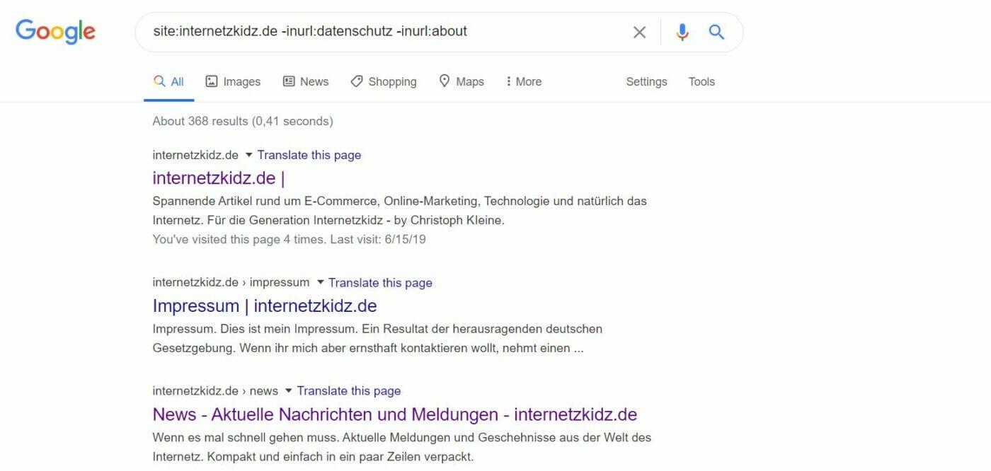 site Abfrage Google internetzkidz minus operator