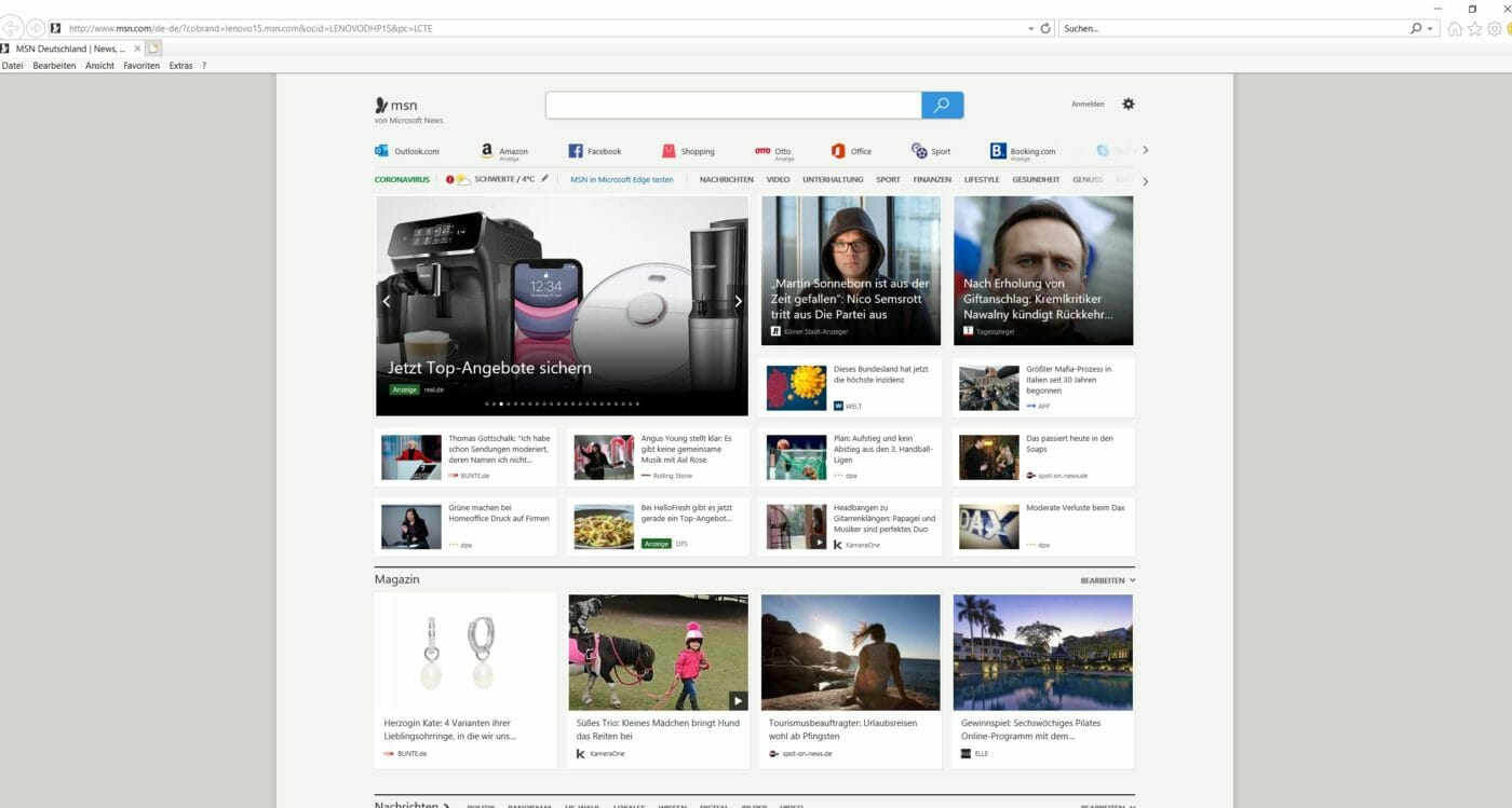 Start Ansicht Internet Explorer Glossar