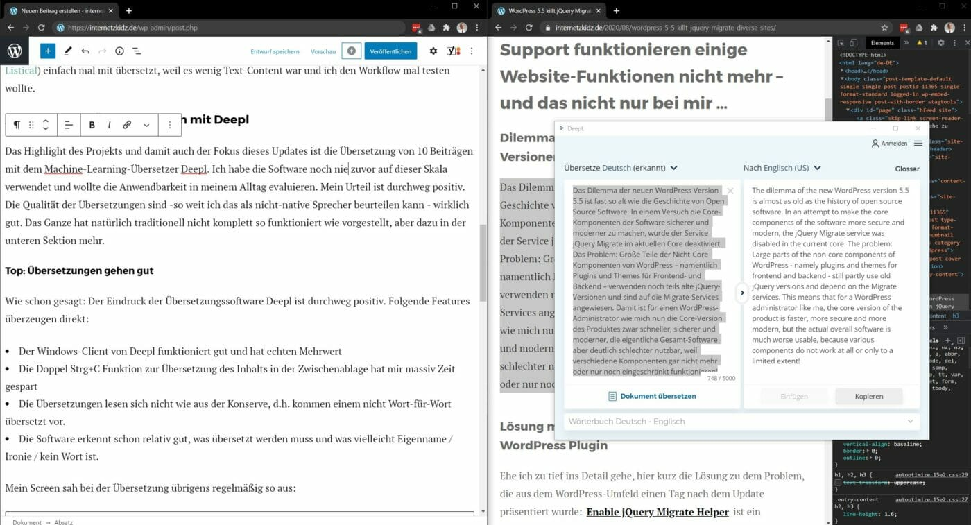 Drei Fenster offen WordPress und Deepl