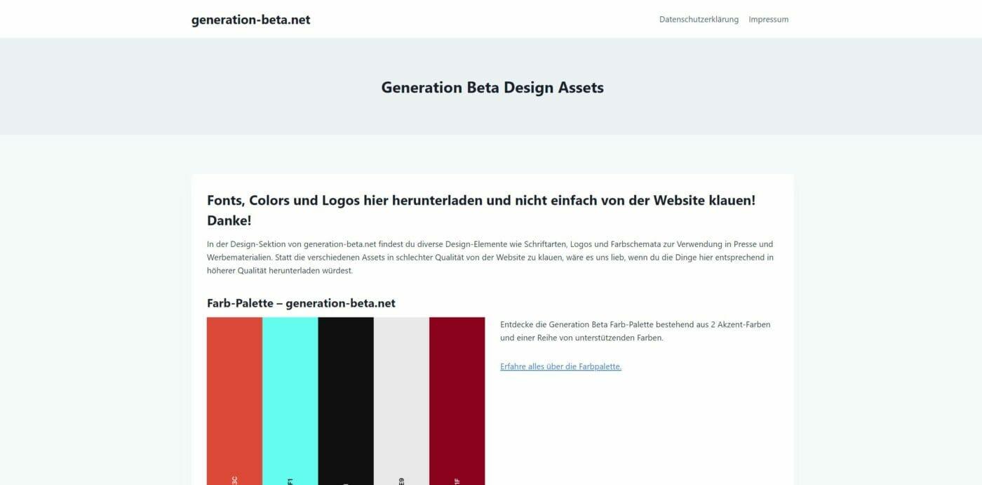 Generation Beta Design Unterseite