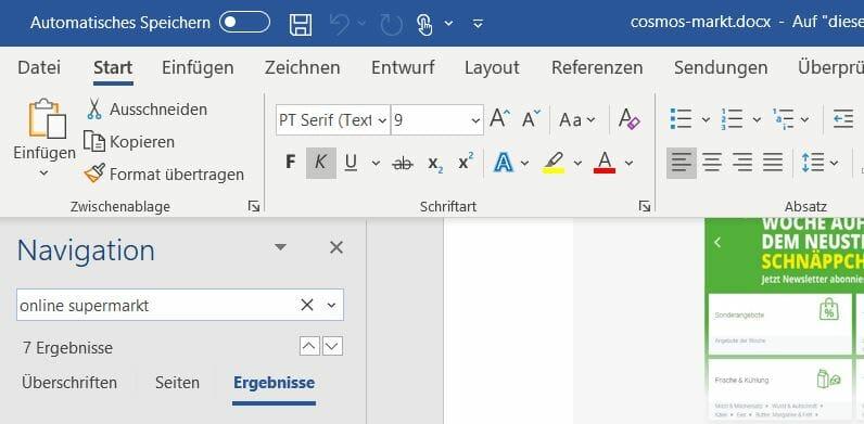 Suchergebnis Word Dokument