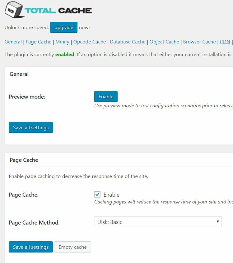 w3total Cache Page Cache Settings