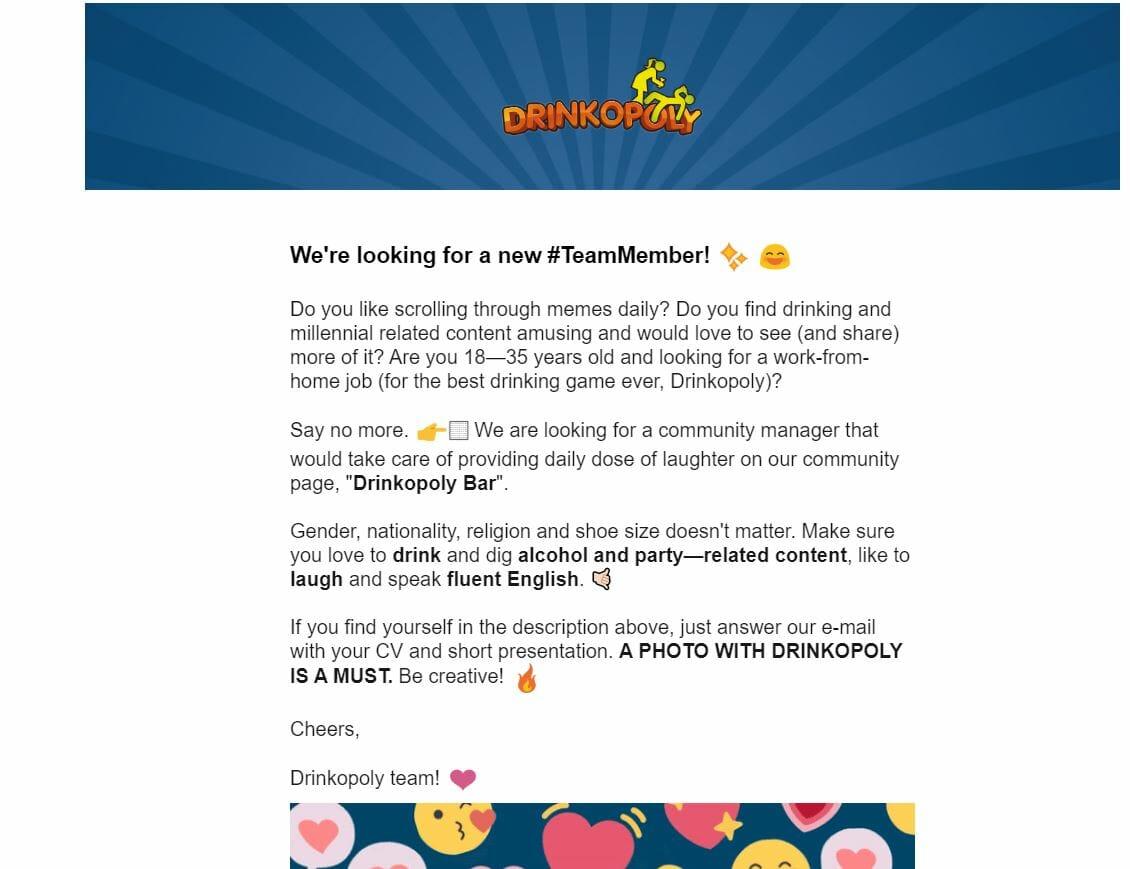 Drinkopoly Job Ad Newsletter